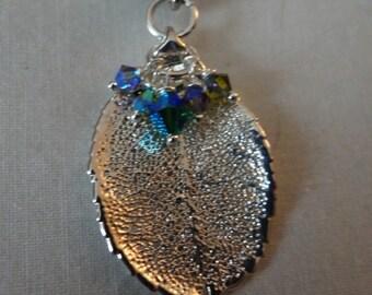 Sterling Silver/Crystal/Leaf Necklace Set