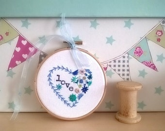 Heart Embroidered Hoop