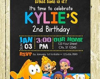 Bubble Guppies Printed Chalkboard Invitation