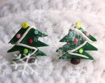 Christmas Tree - Christmas Tree jewelry - Christmas tree earrings - Earrings clay - New Year - Xmas jewelry