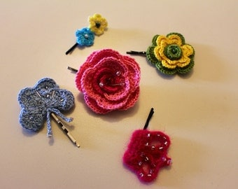 Set of 5 Crochet floral Hair Pin, Handmade Hair Pin, Unique Hair Pin, Flower Hair Accessory