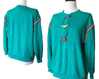 Vintage 80s Teal Sweatshirt With Toggles and Contrast Details