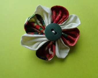 Handmade Fabric Flower Pin / Flower Brooch / Flower Embellishment.
