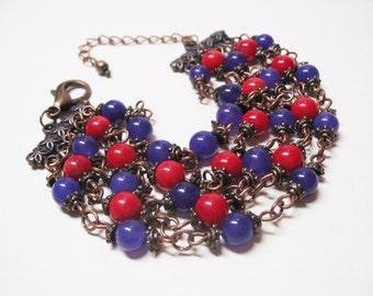 Boho Bracelet Romantic Bracelet Red Coral Bracelet Bohemian Bracelet Boho Chic Bracelet Ethnic Bracelet Bohemian Jewelry Gemstone Bracelet