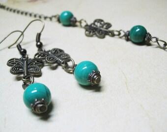 Malachite Jewelry Set Malachite Earrings Malachite Bracelet Vintage Jewelry Gemstone Jewelry 8mm Malachite Minimalist Jewelry Gift for Her