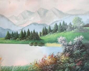 Vintage oil painting lake landscape
