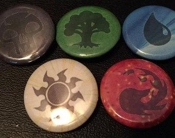 """1"""" Magic the Gathering Mana Symbol pins"""