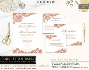 Lace Wedding Invitation Template, Rose Gold, Wedding Invitation, Lace