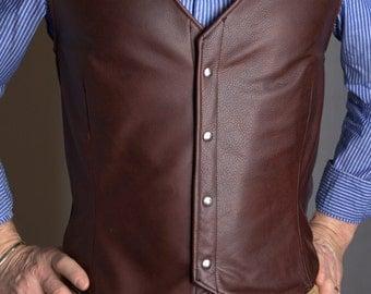 Leather vest, Custom made, Men's vest, Unique vest, Fully lined vest, Genuine leather, Unique men's wear, Leather clothing