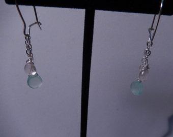Rose Quartz and Chalcedony Dangle Earrings