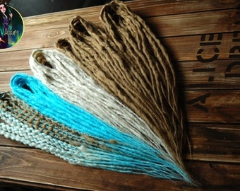Set of synthetic dreads 50 DE dreads = 100 ends. Crocket dreads. Double ended. Whole head.