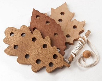 Baby Toy, Wooden Lacing Toy  Organic Wooden Threading Toy. Natural Toddler Toy. Eco Friendly Children Learning Toy. Montessori toy
