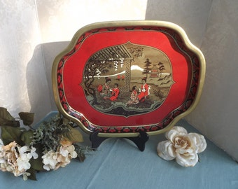 Japanese Metal Tray - Japanese Landscape Tray, Metal Serving Tray, Made in England, Red and Black Tray, Vintage Serving Tray, Metal Tray