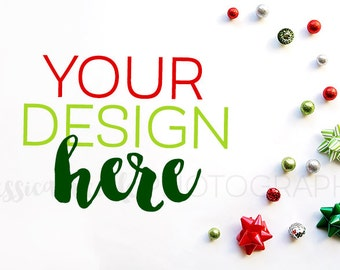 Christmas Bows + Balls Styled Desktop,  Styled Stock Photography, Christmas Styled Mockup, Product Background Photo / Holiday