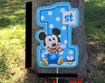 Baby mickey mouse  or Minnie  1st birthday sticks for you party decoration.