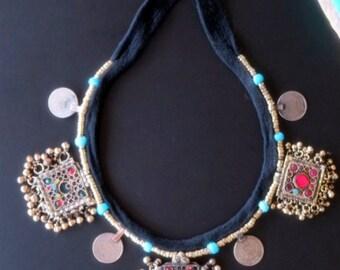 VINTAGE PENDANTS NECKLACE - Tribal Jewelry Black Cord Necklace