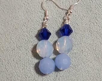 Blue Glass Opalescent Glass Earrings