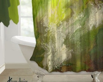 Olive Green Lime Green Shower Curtain Modern Abstract Art Bathroom Decor