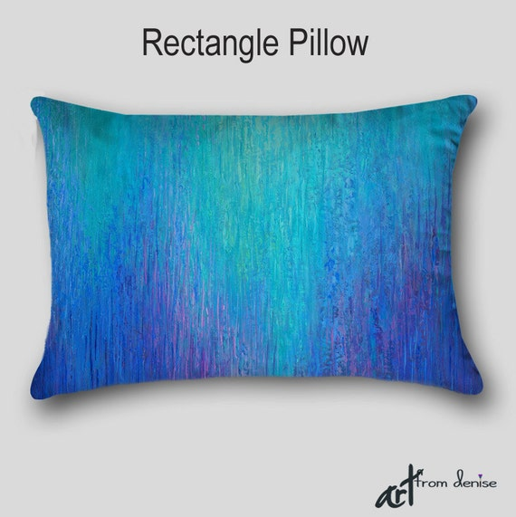 Modern Teal Decorative Throw Pillow : Decorative Throw pillow Accent Designer Abstract art Aqua