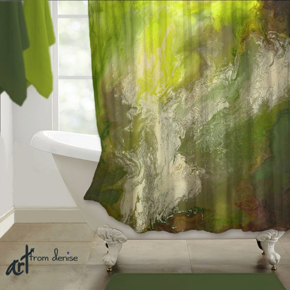 Olive Green Lime Green Shower Curtain Modern Abstract Art