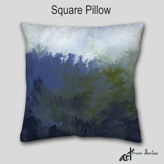 Navy blue Olive green Decorative Accent Pillow Abstract art