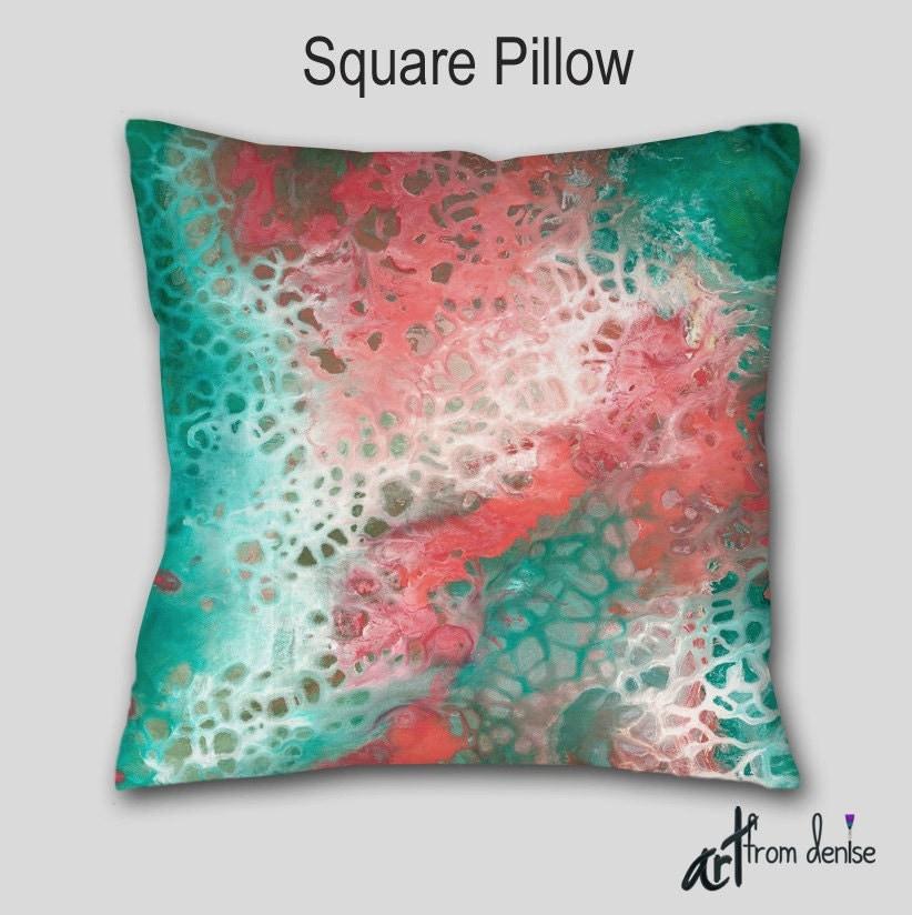Designer Throw Pillow Cover Case Teal Aqua Gray Coral