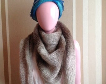 triangle scarf, hand knit, triangle shawl, cowl, brown