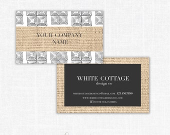 Pre Made Burlap Business Card Design-Double Sided Calling Card Template-By Whitecottagedesignco
