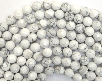 """10% SALE 8mm faceted white howlite round beads 15.5"""" strand 38047"""
