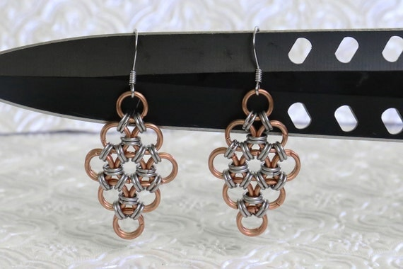 Stainless Steel and Copper - Japanese 12 in 2 - Chainmaille Earrings - Gothic Chain Maille Earrings - Viking Armor Chainmail Earrings -