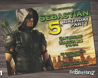 The Green Arrow Birthday Party Invitation customized printable invite for boys or girl of any age + Free Thank You Card