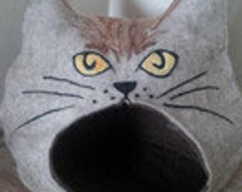 cat cave cat head colour nature/cat bed/pet bed/felt bed