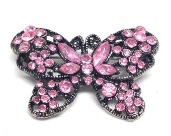 Stunning Vintage Pink Rhinestones Winged Flying Butterfly Brooch
