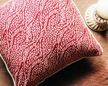Red & White Hand Block Printed Pillow , Indian Throw Pillow , Decorative Pillow , Couch Pillow , Home Decor , Indian Print , Interior Design