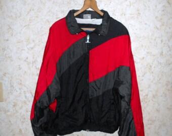 Vintage 80s 90s Geometric Color Block Nylon Windbreaker Jacket Coat Track Jogging Hipster Hop Hop Might Mac Retro Mens Medium / Womens Large