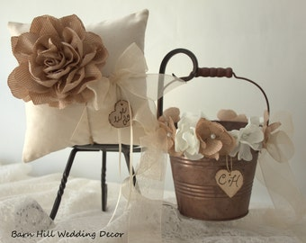 Ring Bearer Pillow, Flower Girl Basket, Wedding Ring Pillow, Ivory, Bronze, Rustic Wedding
