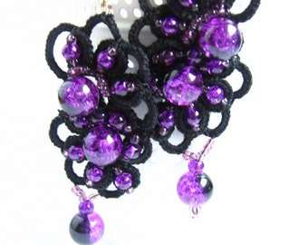 ready to ship! BLACK BEAUTY ANKARS tatting earrings bridesmaids jewelry tatted jewelry frivolite chiacchierino gift birthday black lace