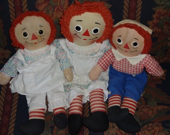 Set of 3 Vintage 1960's Knickerbocker Raggedy Ann & Andy Dolls