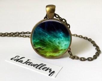 Nebula Space Pendant, Galaxy Jewellery, Universe Necklace, Turquoise Blue Green Jewelry