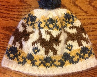 Wool Puppy Dog Hat/Beanie for Babies/Kids/Toddlers with Brown Dog and Blue/Yellow/White l