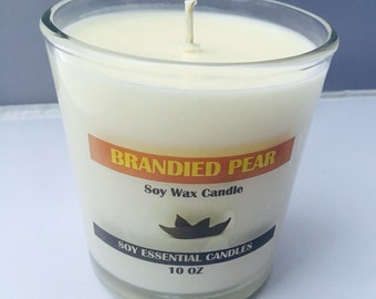 10OZ Brandied Pear Soy Wax Candle, Winter Collection Candle, Pear, Natural, Clean, Vegan Candle