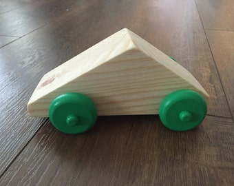 Geometric Shape Wooden Car with Green Wheels