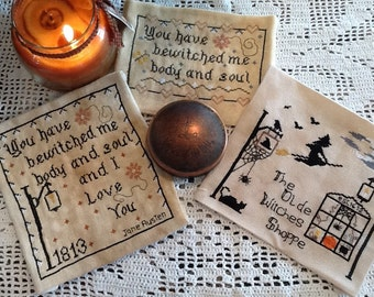 Patterns Set, Bewitched Witchy Trio  Patterns, Bewitched Me I Love You,  Bewitched Me, and Olde Witches Shoppe Patterns