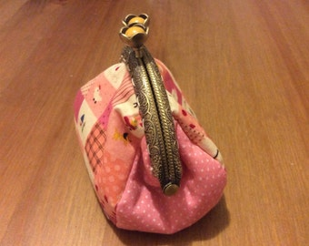 Handmade coin purse with antique bronze metal clasp