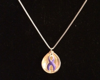 Salt Spoon Pendant with Purple Awareness Ribbon Charm