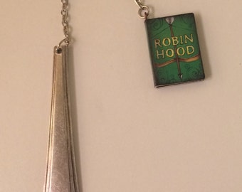 Vintage Silver-Plated Spoon Handle Bookmark with Miniature Robin Hood Book Charm
