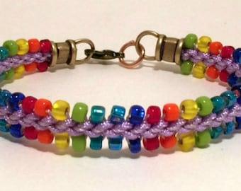 Rainbow Prumihimo Bracelet Pattern, Digital Pattern, Kumihimo, Beaded Bracelet Pattern, Prumihimo Disk Pattern