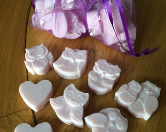Owl & Heart shaped wax melts - can be made with any scent and any colour