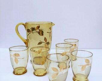 Vintage jug and glass set