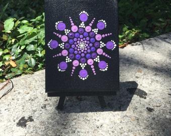"Mandala hand painted on canvas 4""X5""."
